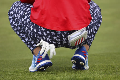 Danielle Kang of the US during the Fourballs match 'gaint Europe in the Solheim cup at Gleneagles, Auchterarder, Scotland, Friday, Sept. 13, 2019. (AP Photo/Peter Morrison)