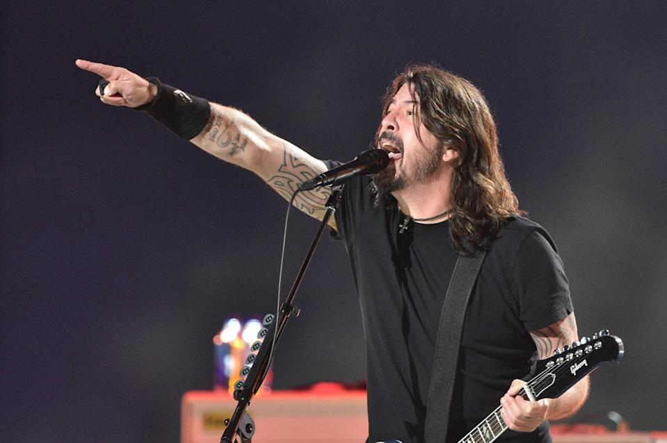"""Dave Grohl of Foo Fighters rejoiced at being back on stage in front of a real-life crowd at the May 2, 2021, """"Vax Live"""" concert."""