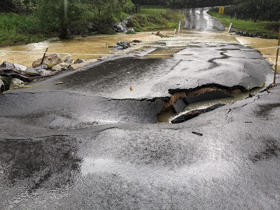 Dungay Creek Road, in Dungay, NSW has been damaged due to flooding in the area. Source: Facebook/NSW SES Murwillumbah Unit