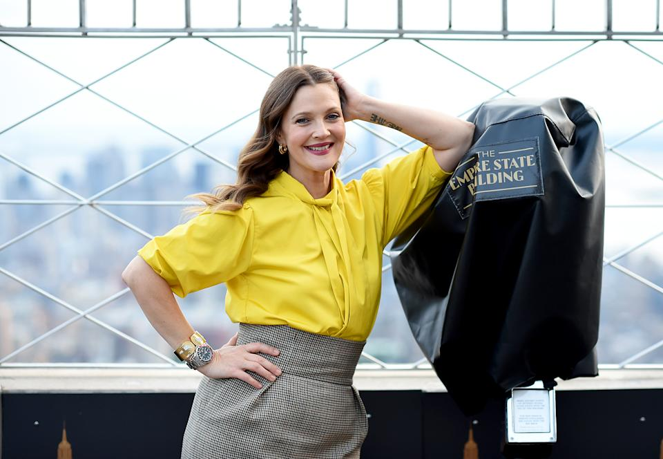 NEW YORK, NEW YORK - SEPTEMBER 14: Drew Barrymore celebrates the Launch of The Drew Barrymore Show at The Empire State Building on September 14, 2020 in New York City. (Photo by Dimitrios Kambouris/