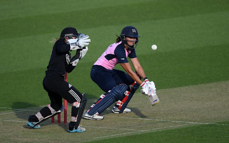 Natasha Miles of Middlesex bats watched on by Rhianna Southby of Surrey during the London Cup T20 match between Surrey Women and Middlesex Women at The Kia Oval on July 22, 2020 in London, England - Alex Davidson/Getty Images