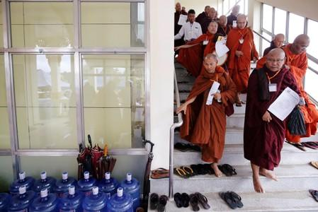 Buddhist monks leave the annual meeting of the nationalist group Buddha Dhamma Parahita Foundation, previously known as Ma Ba Tha in Yangon