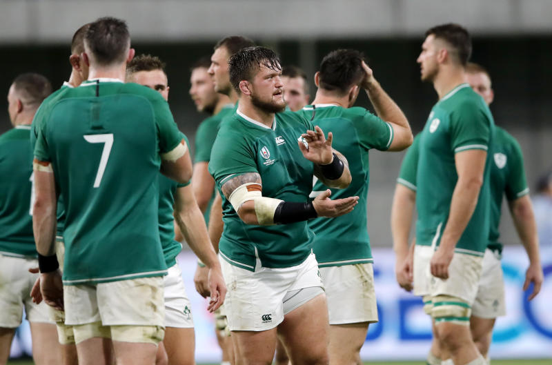 Ireland wave to their fans following their Rugby World Cup Pool A game at Kobe Misaki Stadium against Russia in Kobe, Japan, Thursday, Oct. 3, 2019.Ireland defeated Russia 35-0. (AP Photo/Christophe Ena)