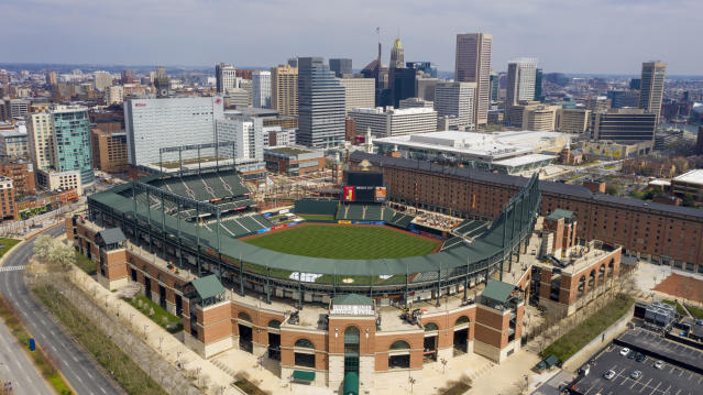 In this aerial photo, Oriole Park at Camden Yards is closed on what would've been Opening Day, Thursday March 26, 2020, in Baltimore, Md. The Orioles were slated to host the New York Yankees at the park, but the season has been delayed due to the coronavirus outbreak. (AP Photo/Steve Helber)