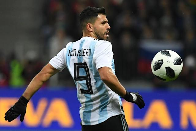Sergio Aguero has been names in the Argentina squad for two friendlies even though he is injured (AFP Photo/Kirill KUDRYAVTSEV)