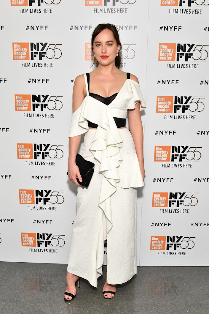 Dakota Johnson at the 55th New York Film Festival red carpet for Call Me By Your Name