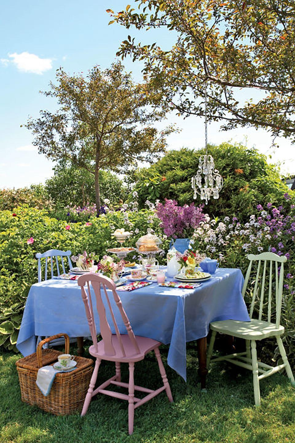 "<p>Mother's Day falls during that magical time of year when the weather is pleasantly warm (but not hot) and the trees and flowers are blooming, so why not move the party outside with a garden tea party—either together or remotely. Send along a <a href=""https://www.harryanddavid.com/h/gift-baskets-tower-boxes/specialty-gift-baskets/27422"" rel=""nofollow noopener"" target=""_blank"" data-ylk=""slk:snack-filled Country Living gift basket"" class=""link rapid-noclick-resp"">snack-filled Country Living gift basket</a>, or even better: Order one basket for yourself, and send one to her, and you can nibble on lemon shortbread cookies simultaneously from pretty al fresco settings, even if you can't be in the same place.<a href=""https://www.countryliving.com/food-drinks/g2608/afternoon-tea-sandwiches/"" rel=""nofollow noopener"" target=""_blank"" data-ylk=""slk:"" class=""link rapid-noclick-resp""><br></a></p><p><strong><a href=""https://www.countryliving.com/entertaining/g21/mother-tea-party-0507/"" rel=""nofollow noopener"" target=""_blank"" data-ylk=""slk:Get more ideas for a Mother's Day tea party."" class=""link rapid-noclick-resp"">Get more ideas for a Mother's Day tea party.</a></strong></p>"