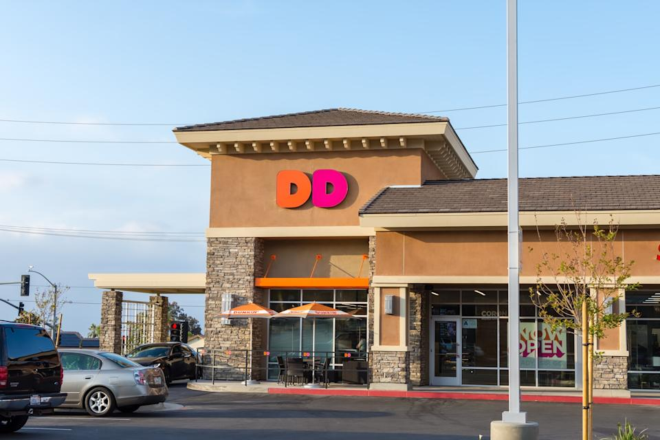 Corona, CA USA - April 30, 2018: Dunkin Donuts in Corona with new Dunkin and DD branding concept.