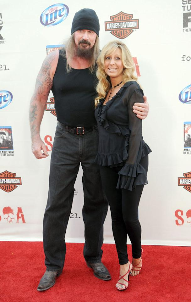 """Rusty Coones and wife Katherine Coones attend the """"Sons of Anarchy"""" Season 5 premiere screening at Westwood Village on September 8, 2012 in Los Angeles, California."""