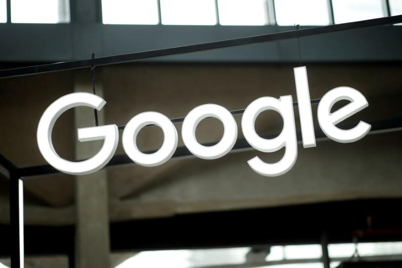 """FILE PHOTO: The Google logo is seen at the """"Station F"""" start up campus in Paris"""