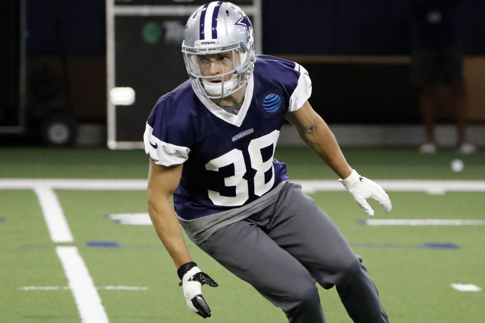 FILE - In this June 12, 2019, file photo, Dallas Cowboys strong safety Jeff Heath (38) participates in drills at the team's NFL football training facility in Frisco, Texas. Despite an offseason of talk about potential replacements, Jeff Heath and Xavier Woods are still the starting safeties for the Dallas Cowboys. (AP Photo/Tony Gutierrez, File)