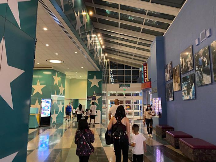 A view of the All-Star Movies Resort lobby.