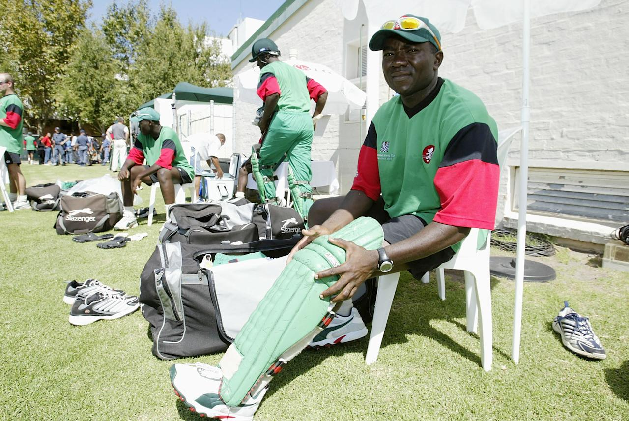 Steve Tikolo, captain of Kenya  during net practise ahead of the ICC Cricket World Cup Super Six game between Kenya and India at Newlands, in Cape Town, South Africa on March 06, 2003. (Photo by Michael Steele/Getty Images)