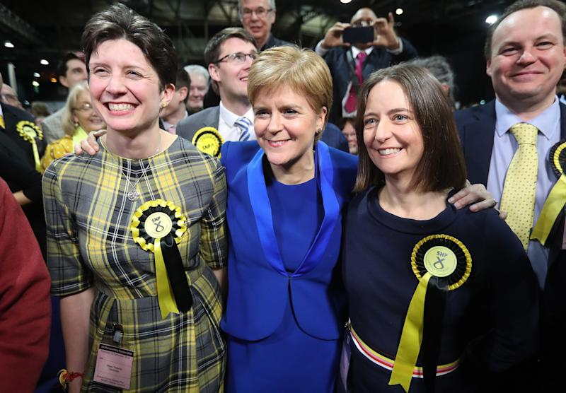 SNP Nicola Sturgeon with MPs Alison Thewliss and Carol Monaghan, who were both re-elected (Photo: PA Wire/PA Images)