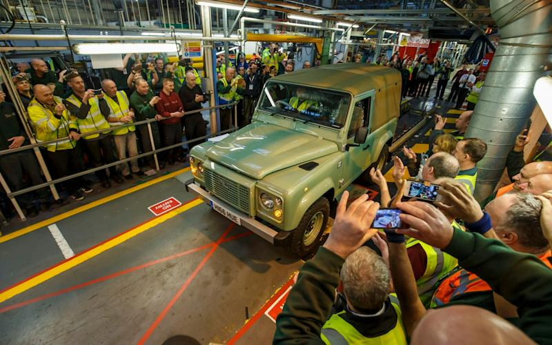 The last Defender rolls of the line at JLR's Solihull plant
