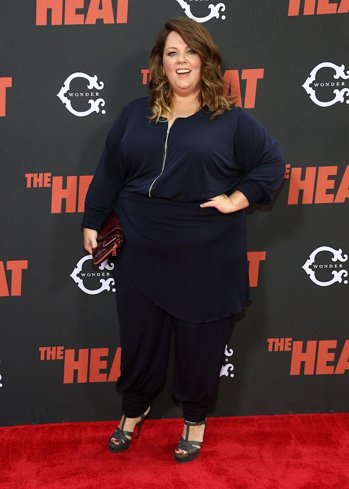 "NEW YORK, NY - JUNE 23: Melissa McCarthy attends ""The Heat"" New York Premiere at Ziegfeld Theatre on June 23, 2013 in New York City. (Photo by Astrid Stawiarz/Getty Images)"