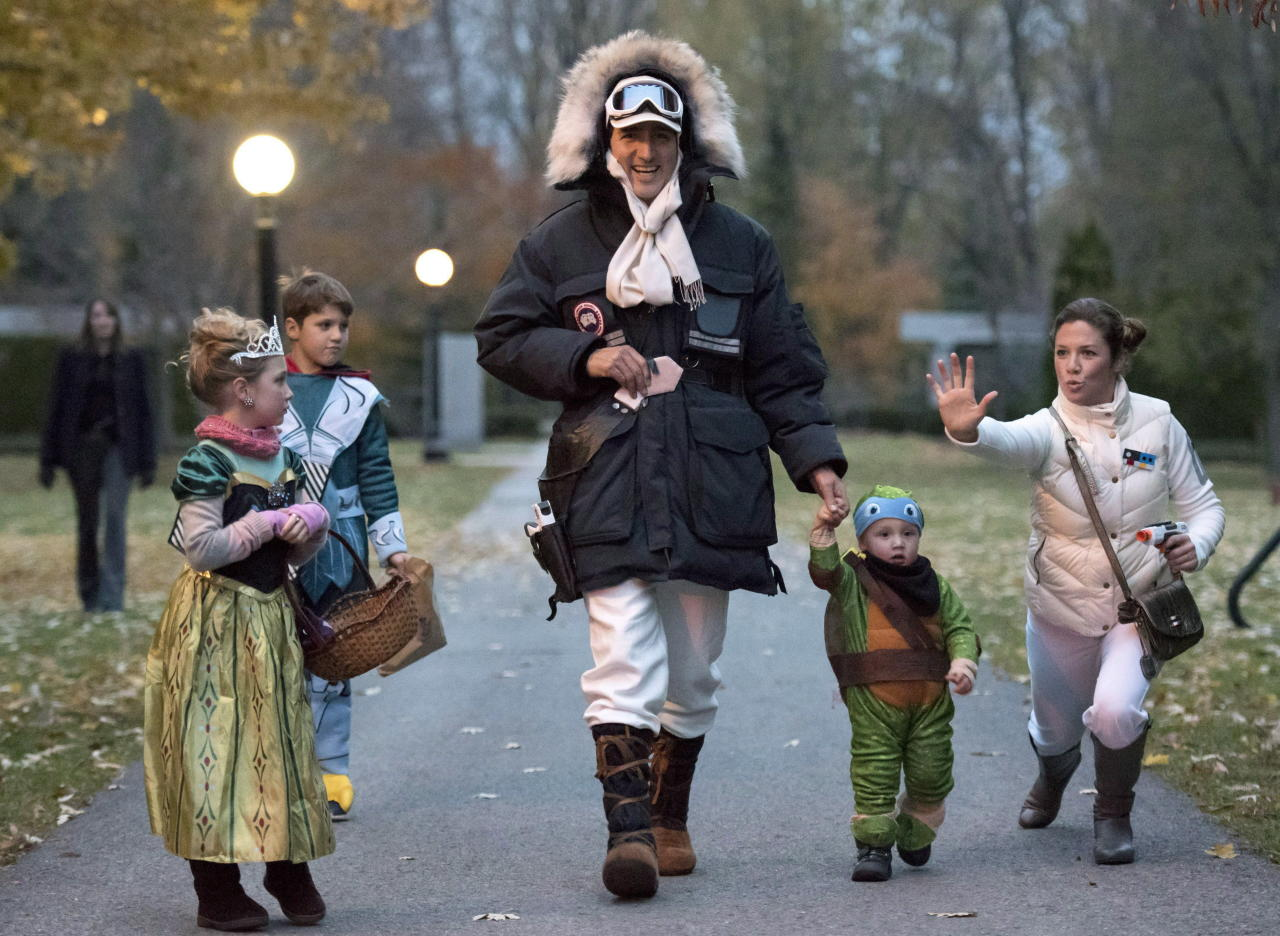 "<p>In 2015, the Prime Minister dressed as Han Solo, alongside a mis-matched squad of family members. Sophie Gregoire-Trudeau joined in on the ""Star Wars"" fun with her own interpretation of Princess Leia. <em>(Photo via The Canadian Press)</em> </p>"