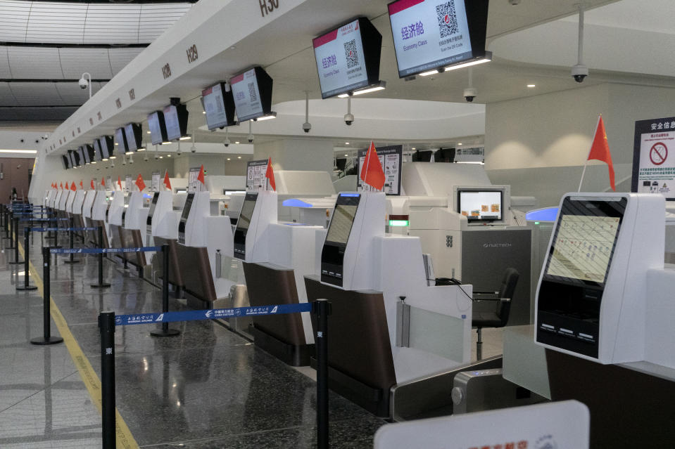 Boarding counters in Beijing Daxing International Airport. (Photo by Zhang Peng/LightRocket via Getty Images)