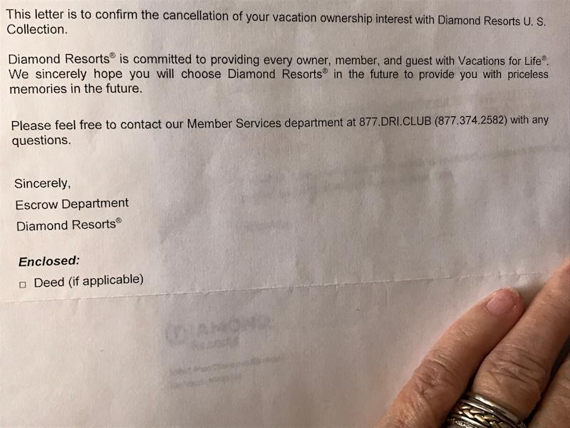 Diamond Resorts confirmed in writing Betty and Frank Lusk's $150,000 timeshare had been canceled. But the company later said it had been a mistake and kept sending bills.