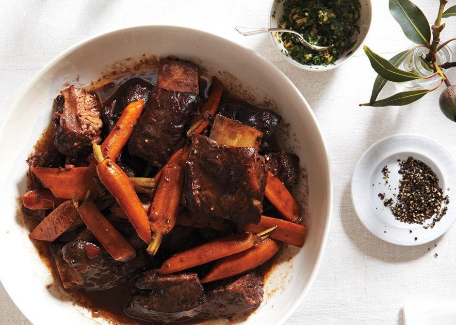 "These are the perfect crowd-pleasing dinner party entrée. <a href=""https://www.bonappetit.com/recipe/red-wine-braised-short-ribs-with-carrots?mbid=synd_yahoo_rss"" rel=""nofollow noopener"" target=""_blank"" data-ylk=""slk:See recipe."" class=""link rapid-noclick-resp"">See recipe.</a>"