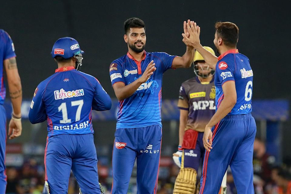 Lalith Yadav of Delhi Capitals celebrates after takes a wicket of Sunil Narine of Kolkata Knight Riders during match 25 of the Indian Premier League 2021 between the Delhi Capitals and the Kolkata Knight Riders, held at the Narendra Modi Stadium in Ahmedabad, Thursday, 29 April 2021.