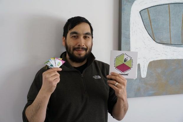 Thomassie Mangiok hopes his board game will help people outside his community of Ivujivik learn more about his culture.                   (Submitted by Thomassie Mangiok - image credit)