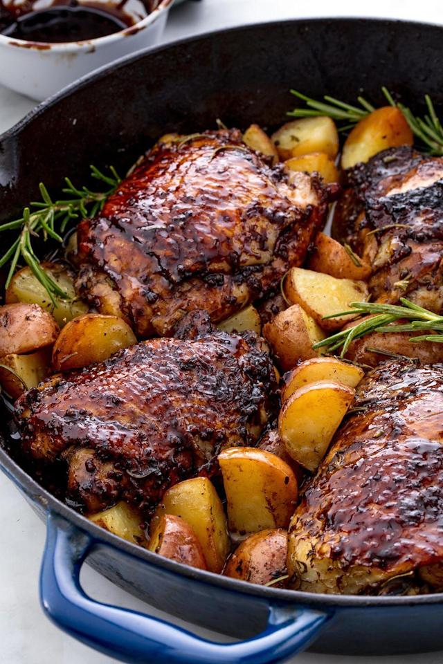 """<p>This sweet, tangy chicken is the perfect date night dinner.</p><p>Get the recipe from <a href=""""https://www.delish.com/cooking/recipe-ideas/recipes/a49138/balsamic-glazed-chicken/"""" rel=""""nofollow noopener"""" target=""""_blank"""" data-ylk=""""slk:Delish"""" class=""""link rapid-noclick-resp"""">Delish</a>.</p>"""