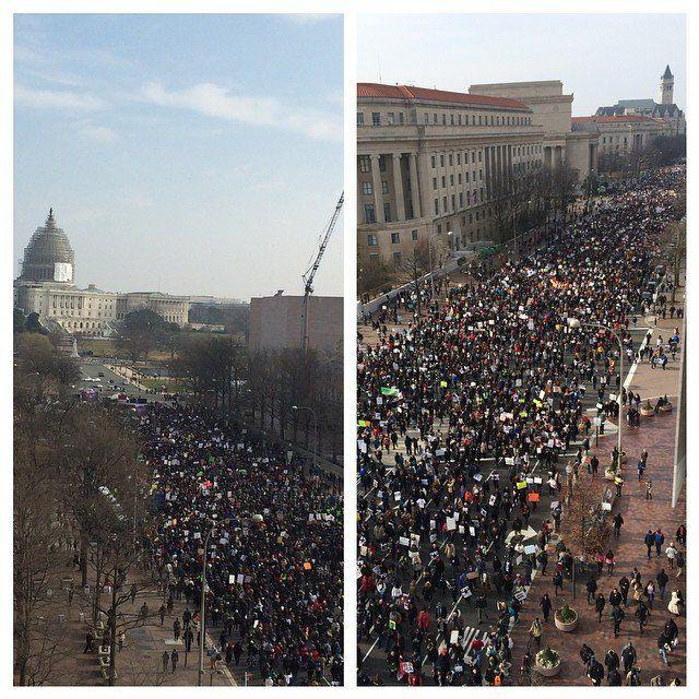 Protesters march down Pennsylvania Avenue in Washington, D.C.