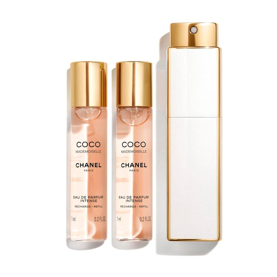 "<p>Take Chanel's beloved Coco Mademoiselle Eau de Parfum absolutely everywhere with you with this miniature twist-and-spray set. Included are three 0.2-ounce bottles, which you can place (and replace) in a white-and-gold case. </p> <p><strong>$80 for three .2-ounce bottles</strong> (<a href=""https://shop-links.co/1724705940683133429"" rel=""nofollow noopener"" target=""_blank"" data-ylk=""slk:Shop Now"" class=""link rapid-noclick-resp"">Shop Now</a>)</p>"