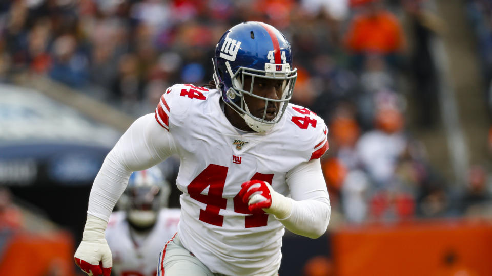 New York Giants linebacker Markus Golden (44) plays against the Chicago Bears during the first half of an NFL football game in Chicago, Sunday, Nov. 24, 2019. (AP Photo/Paul Sancya)
