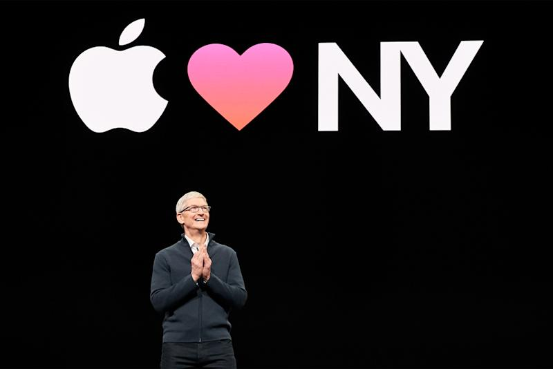 Tim Cook stands on stage at the annual iPhone launch event in October 2018.
