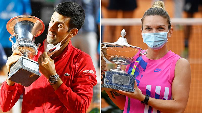 Seen here, Italian Open champions Novak Djokovic and Simona Halep with their trophies.
