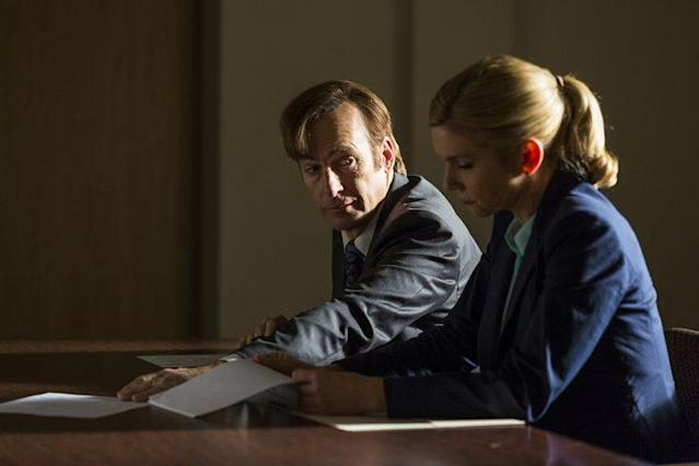 Bob Odenkirk as Jimmy McGill and Rhea Seehorn as Kim Wexler in AMC's 'Better Call Saul' (Photo: Michele K. Short/AMC/Sony Pictures Television)