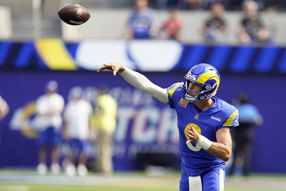 Los Angeles Rams quarterback Matthew Stafford throws during the first half in an NFL football game against the Arizona Cardinals Sunday, Oct. 3, 2021, in Inglewood, Calif. (AP Photo/Jae C. Hong)