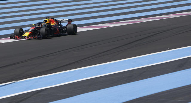Red Bull driver Daniel Ricciardo of Australia steers his car during the first free practice at the Paul Ricard racetrack, in Le Castellet, southern France, Friday, June 22, 2018. The Formula one race will be held on Sunday. (AP Photo/Claude Paris)