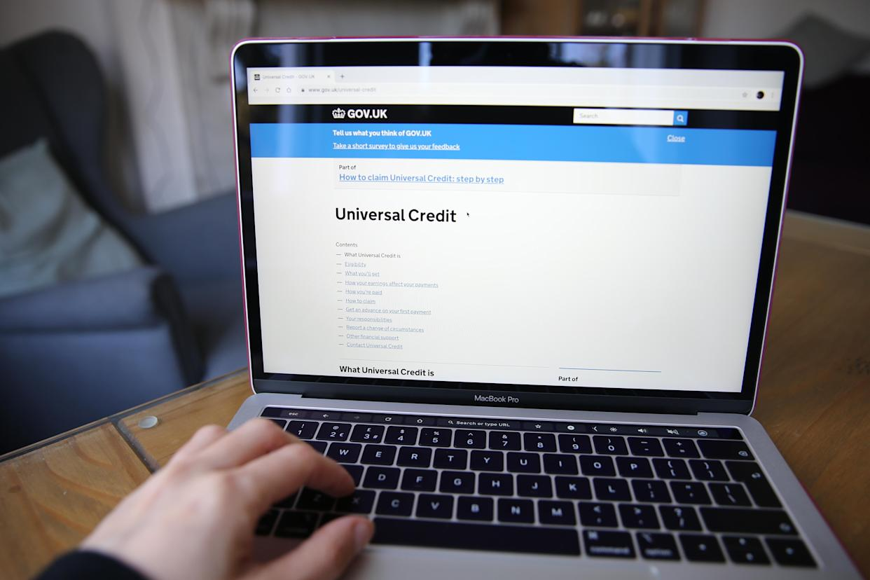 A person visits the Government Gateway website to apply for Universal Credit online. Picture date: Friday March 27, 2020. Photo credit should read: Isabel Infantes/EMPICS Entertainment