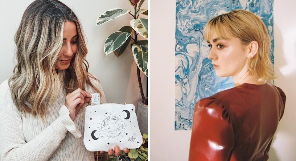Zoe Sugg (left) and Maisie Williams have each designed a period bag for Fempowered (WaterAid)