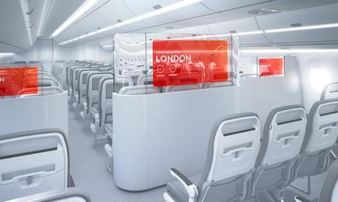 Partly clear walls between economy and business class - Credit: aerq
