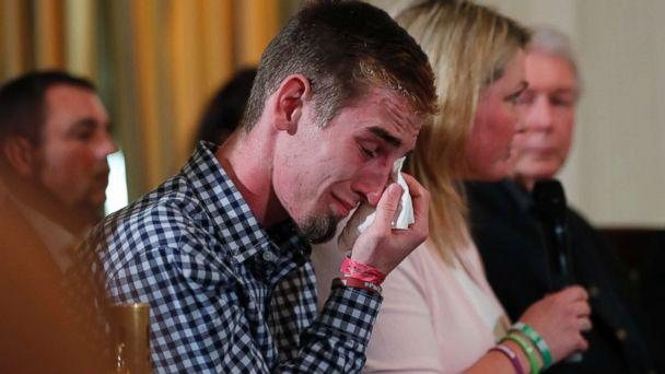PHOTO: Marjory Stoneman Douglas High School student Samuel Zeif wipes his tears at a listening session with President Trump and high school shooting survivors and students at the White House in Washington, Feb. 21, 2018. (Jonathan Ernst/Reuters)