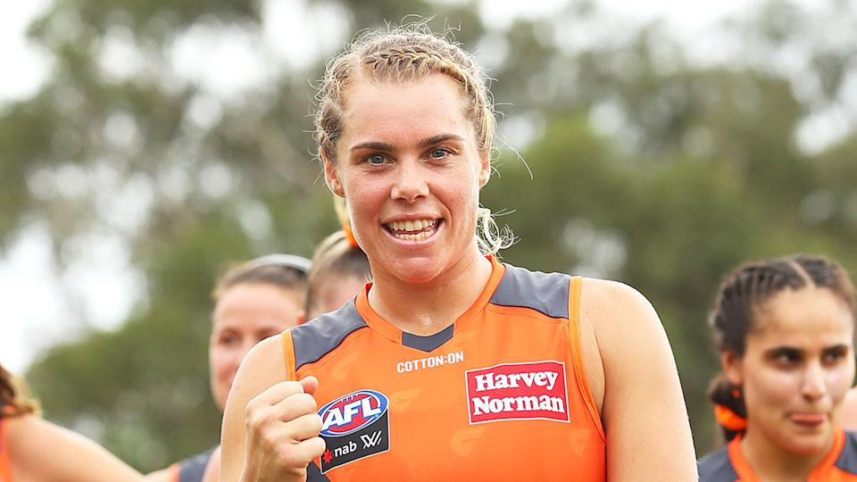 Jacinda Barclay is seen here during her AFLW playing days for GWS.