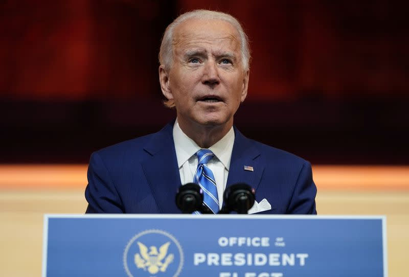 U.S. President-elect Joe Biden delivers pre-Thanksgiving speech at transition headquarters in Wilmington, Delaware