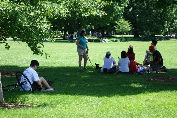 People enjoyed the sunny weather last the weekend by relaxing in Major's Hill Park. On Friday, health officials in Ottawa reported six new cases of COVID-19. (Joseph Tunney/CBC - image credit)