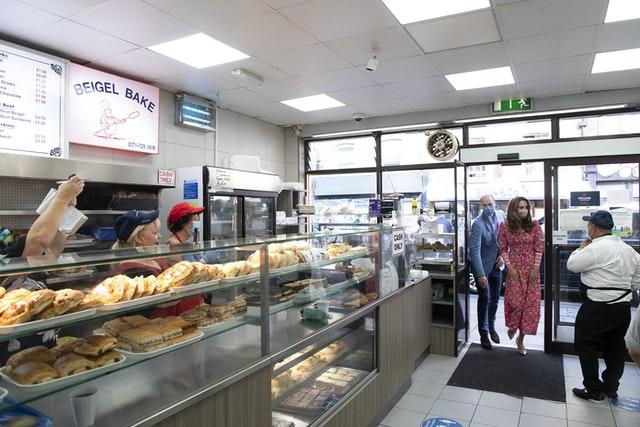The Duke and Duchess of Cambridge during a visit to the Beigel Bake Brick Lane Bakery in London
