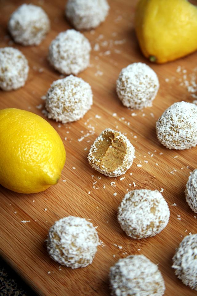 "<p>These soft and naturally <a href=""https://www.popsugar.com/fitness/Lemon-Coconut-Protein-Balls-41160578"" class=""ga-track"" data-ga-category=""Related"" data-ga-label=""http://www.popsugar.com/fitness/Lemon-Coconut-Protein-Balls-41160578"" data-ga-action=""In-Line Links"">sweet balls of lemony goodness</a> are made with just five ingredients: raw almonds, vanilla protein powder, juicy dates, lemon juice, and unsweetened coconut.  </p> <p>Calories: 49 per ball </p> <p>Fiber: 1.1 grams </p> <p>Protein: 2.4 grams </p>"