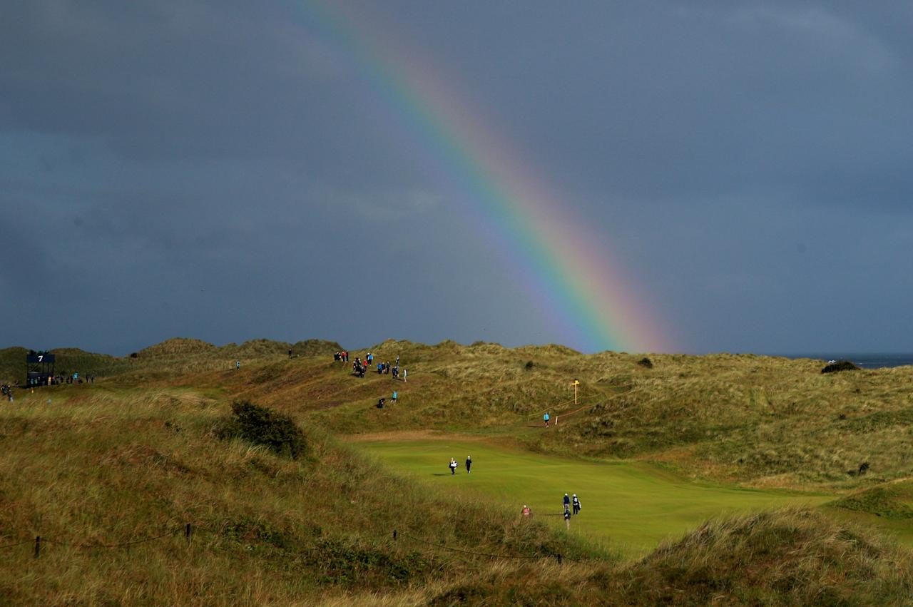 Golf - The 148th Open Championship - Royal Portrush Golf Club, Portrush, Northern Ireland - July 18, 2019  General view of a rainbow during the first round  REUTERS/Ian Walton     TPX IMAGES OF THE DAY