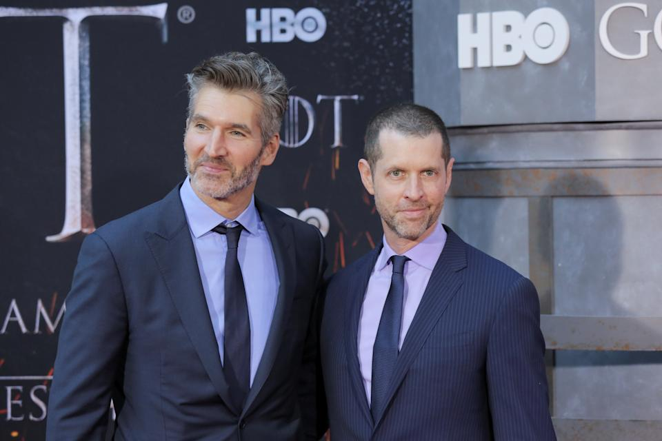 """David Benioff and D.B. Weiss arrive for the premiere of the final season of """"Game of Thrones"""" at Radio City Music Hall in New York, U.S., April 3, 2019. REUTERS/Caitlin Ochs"""