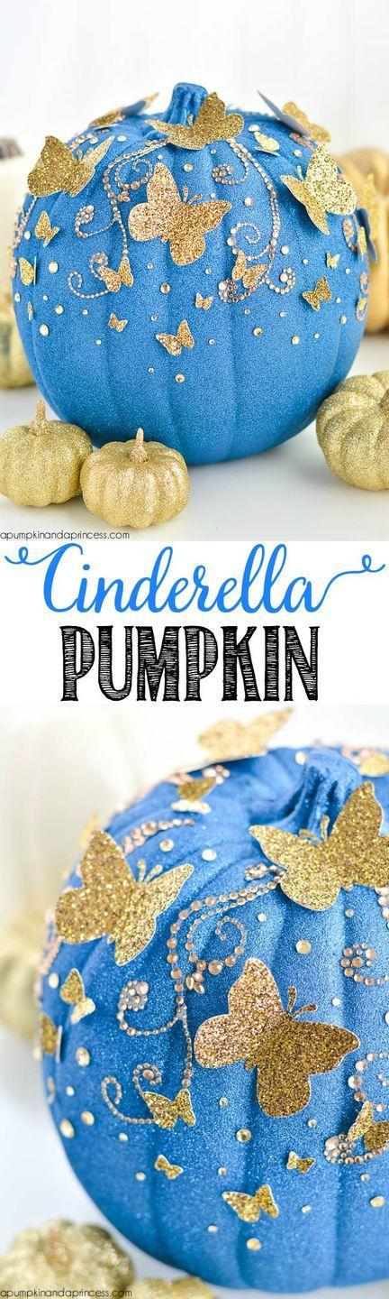 """<p>This beautiful Disney-inspired pumpkin, made from glitter and paper, will mesmerize all of your Halloween party guests. Just be careful it doesn't turn into a carriage!</p><p><em><strong>Get the tutorial from <a href=""""http://apumpkinandaprincess.com/2015/09/diy-cinderella-butterfly-pumpkin.html?crlt.pid=camp.prN9dO3BRkAb"""" rel=""""nofollow noopener"""" target=""""_blank"""" data-ylk=""""slk:A Pumpkin & a Princess"""" class=""""link rapid-noclick-resp"""">A Pumpkin & a Princess</a>.</strong></em><br></p>"""
