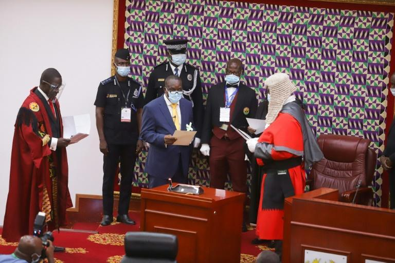 Alban Bagbin, centre, of the opposition party National Democratic Congress, is sworn in as speaker
