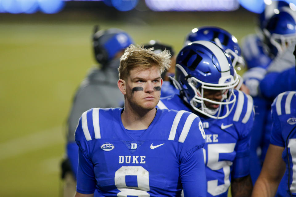 Duke quarterback Chase Brice (8) stands on the sideline during the second half of the team's NCAA college football game against Miami on Saturday, Dec. 5, 2020, in Durham, N.C. (Nell Redmond/Pool Photo via AP)