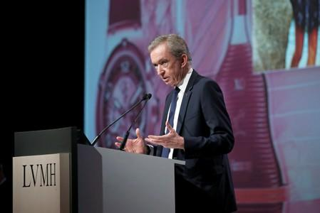 Bernard Arnault, Chief Executive Officer of LVMH Moet Hennessy Louis Vuitton SE, attends the company's shareholders meeting in Paris